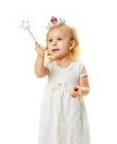 Mała czarodziejka z magiczną różdżką Zdjęcia Royalty Free