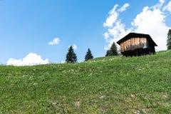 Mała drewniana chałupa w wśrodzie idylliczny góra krajobraz w Szwajcaria obraz royalty free