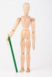 Mała drewniana mannequin pozycja z colour ołówkiem Zdjęcie Stock