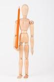 Mała drewniana mannequin pozycja z colour ołówkiem na whi Fotografia Stock