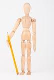 Mała drewniana mannequin pozycja z colour ołówkiem odizolowywającym na whi Zdjęcia Stock