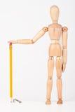 Mała drewniana mannequin pozycja z colour ołówkiem odizolowywającym na whi Zdjęcie Royalty Free