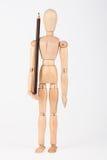 Mała drewniana mannequin pozycja z ołówkiem Zdjęcie Stock