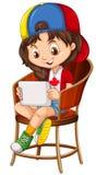 Mała dziewczynka bawić się grę na pastylce Obraz Stock