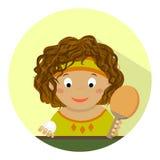 Mała dziewczynka bawić się stołowego tenisa Interes, sporty, hobby, dziecko mieszkanie Zdjęcia Stock