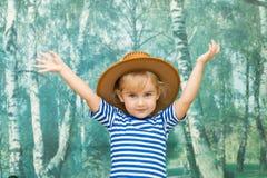 Mała dziewczynka bawić się w kowboju Fotografia Royalty Free