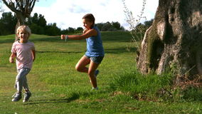 Mała dziewczynka bieg po chłopiec wokoło drzewa troszkę zbiory