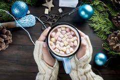 Mała dziewczynka chwytów gorącej czekolady kubka dowcipu marshmallow Zdjęcie Stock
