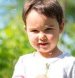 Mała dziewczynka dmucha fluff z dandelion głowy w wiośnie fotografia royalty free