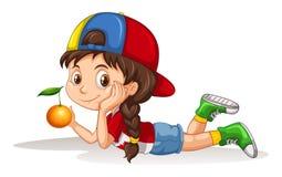 Mała dziewczynka i świeża pomarańcze royalty ilustracja