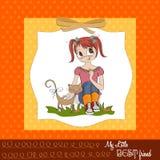 Mała dziewczynka i jej kot Zdjęcia Stock