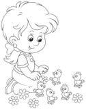 Mała dziewczynka i kurczątka ilustracja wektor