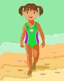 Mała dziewczynka i morze Obrazy Royalty Free