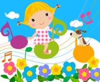 Mała dziewczynka i muzyka ilustracji