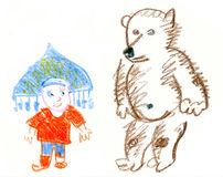 Mała dziewczynka i niedźwiedź Obraz Royalty Free