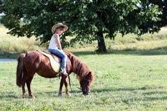 Mała dziewczynka jeździecki koń zdjęcie stock
