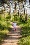 Mała dziewczynka jest ubranym menchii suknię bierze spacer w lesie lub parku wszystko samotnie Obrazy Royalty Free