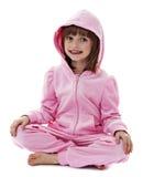 Mała dziewczynka jest ubranym różową kurtkę z kapiszonem Zdjęcia Royalty Free