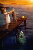 Mała dziewczynka karmi kota ryba - surrealistyczna cyfrowa sztuka ilustracji