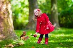 Mała dziewczynka karmi wiewiórki w jesień parku Obrazy Royalty Free