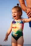Mała dziewczynka no może utrudnienie emocje fotografia stock