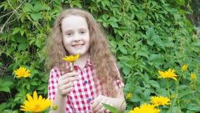 Mała dziewczynka obwąchuje żółtej stokrotki w lato parku zbiory wideo