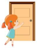Mała dziewczynka pcha drzwiowego otwiera royalty ilustracja
