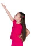 Mała dziewczynka pokazuje jej palmy strona zdjęcie stock