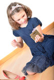 Mała dziewczynka pozuje podczas gdy robić up Obraz Royalty Free