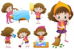 Mała dziewczynka robi różnemu sprzątaniu ilustracja wektor