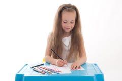 Mała dziewczynka rysunek używać kolorów ołówki odizolowywających na bielu obrazy stock