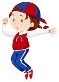 Mała dziewczynka tanczy samotnie royalty ilustracja