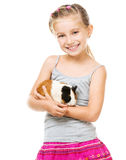 Mała dziewczynka trzyma królika doświadczalnego Zdjęcie Royalty Free