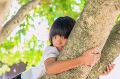 Mała dziewczynka uśmiech szczęśliwy na drzewie obrazy royalty free