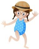 Mała dziewczynka w błękitnym kostiumu royalty ilustracja