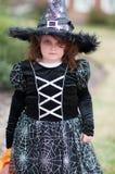 Mała dziewczynka w czarownica kostiumu ma zabawę przy Halloweenowy trikowym lub fundą Zdjęcia Stock