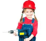 Mała dziewczynka w czerwonym hełmie Obrazy Royalty Free