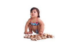 Mała dziewczynka w dopłynięcie kostiumu Obraz Stock