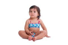 Mała dziewczynka w dopłynięcie kostiumu Obraz Royalty Free
