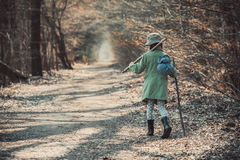 Mała dziewczynka w lasowej fotografii zdjęcia royalty free