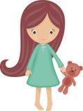 Mała dziewczynka w piżamach ilustracja wektor