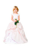 Mała dziewczynka w wspaniałej sukni nad biel Obrazy Royalty Free