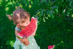 Mała dziewczynka w zieleni sukni, bosa pozycja w parku z dużym plasterka arbuzem zdjęcia stock