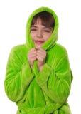 Mała dziewczynka w zielonym kontuszu odizolowywającym Obraz Stock