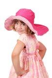 Mała dziewczynka z duży kapeluszem Zdjęcia Royalty Free