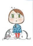 Mała dziewczynka z dużym psem Fotografia Stock