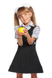 Mała dziewczynka z jabłkiem Zdjęcia Stock