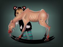 Mała dziewczynka z przerażającym koniem ilustracja wektor