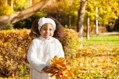 Mała dziewczynka z wiązką żółci liście Zdjęcia Stock