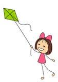 Mała dziewczynka z zieloną kanią Zdjęcie Stock